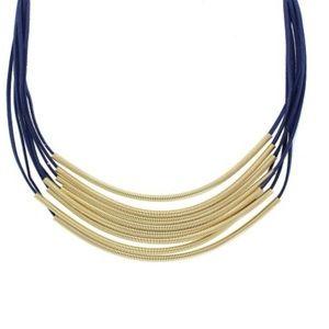 BLUE & GOLD GENEVA LAYERED NECKLACE